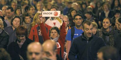 Fagor employees at a demonstration in Mondragón against job cuts at the appliance maker.