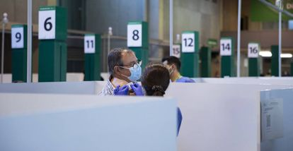 La Cartuja Stadium in Seville is being used as a mass vaccination site.