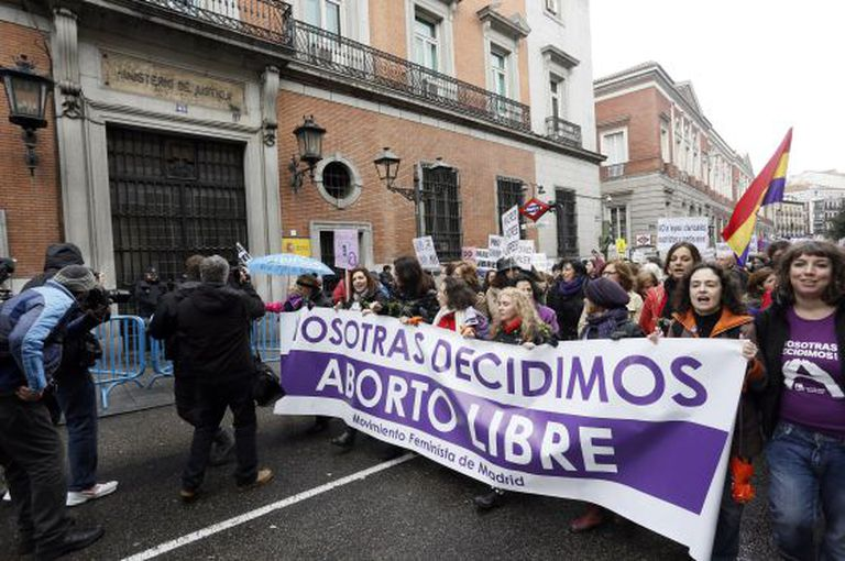 A demonstration in Madrid earlier this year in support of abortion.