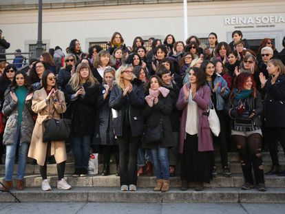 Women from the anti-sexual harassment group Pandora's Box outside the Reina Sofìa museum in Madrid.