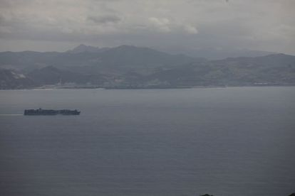 A view of the coast near Tangier, as seen from the Spanish side of the Strait of Gibraltar.