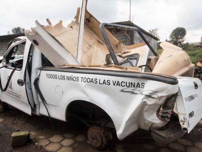 Seized vehicles in Turícuaro (Michoacán).
