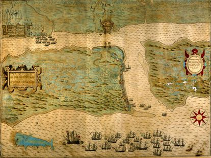A map depicting Sir Francis Drake's attack on St. Augustine on the Florida peninsula.
