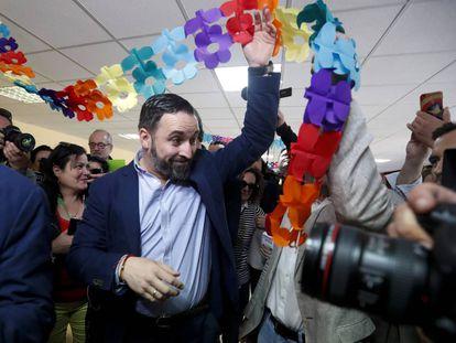 Vox leader Santiago Abascal votes at Pinar del Rey school in Madrid.