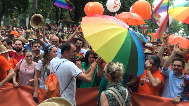 Members of Ciudadanos at the Gay Pride parade.