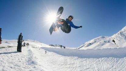 A snowboarder on the Baqueira slopes.
