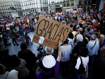 A gathering in Madrid's Puerta del Sol to celebrate the fourth anniversary of 15-M.