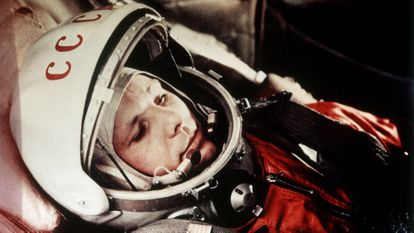 Yuri Gagarin during the first manned flight in space on April 12, 1961.