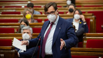 Salvador Illa, the head of the Catalan Socialists, in the regional Parliament on May 13.