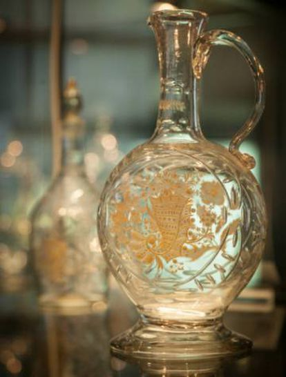 An 18th-century glass bottle at the museum of the Royal Glass Factory in La Granja.