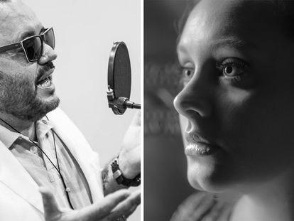 Brazilian songwriter Toninho Geares (l) and British singer Adele.