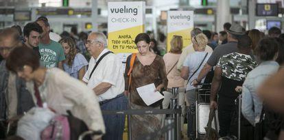 Vueling customers at Barcelona-El Prat airport.