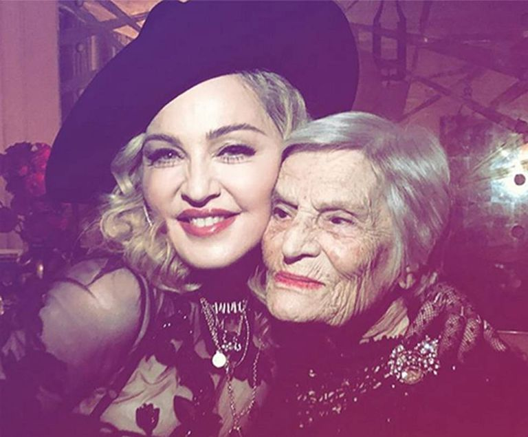 Madonna and Celeste Rodrigues in the Luso Cafe in Lisbon.