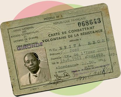 José Epita Mbomo's volunteer card for the French Resistance issued in Bordeaux in 1954. FAMILY ARCHIVE
