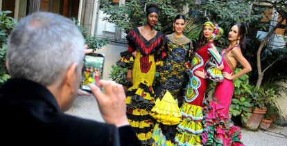 The dresses using Senegalese cloth sold at auction.