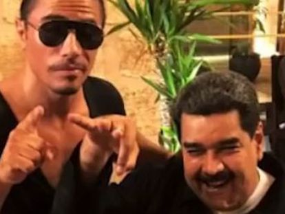 """Nicolás Maduro has been criticized after images emerged of his visit to the restaurant of """"Salt Bae"""" in the midst of his country's deepening food crisis"""