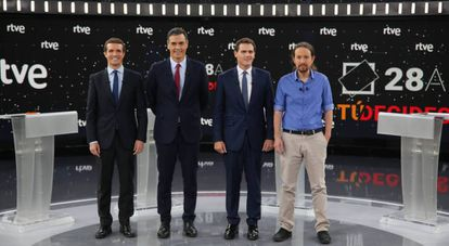 From left to right: Pablo Casado (PP), Pedro Sánchez (PSOE), Albert Rivera (Ciudadanos) and Pablo Iglesias (Unidas Podemos) at a pre-election debate in April.
