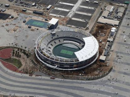 An aerial view of the Olympic tennis court in Rio de Janeiro.