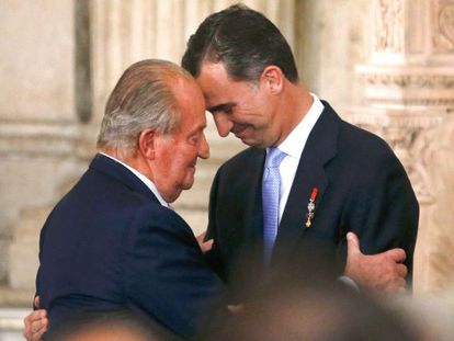 King Juan Carlos I and Felipe VI during the abdication ceremony on June 18.