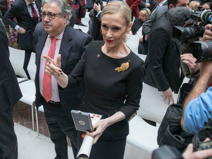 Cristina Cifuentes during the AVT ceremony on Wednesday.
