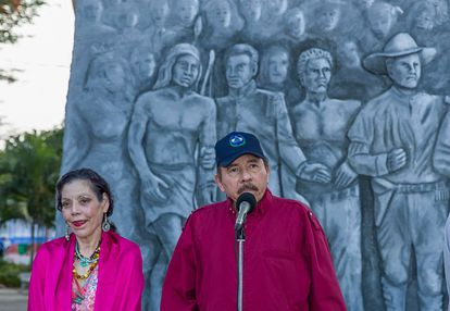 Daniel Ortega and Rosario Murillo at the ceremony to observe the anniversary of the birth of Sandinista leader Carlos Fonseca Amador.
