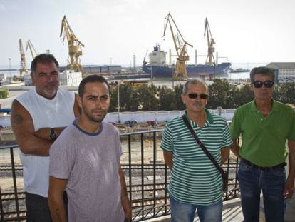 Former workers at Navantia's shipyards in the southern port city of Cádiz