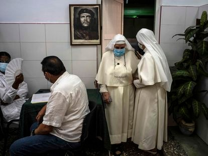 Two nuns in Havana after being vaccinated with the Cuban Covid-19 vaccine, Abdala.