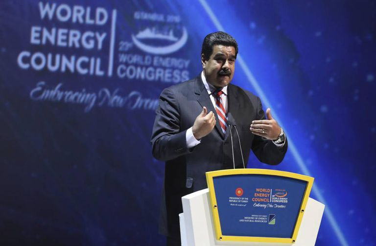 Venezuelan President Nicolás Maduro delivers a speech at the 23rd World Energy Congress in Istanbul.