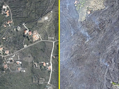 These images of La Palma taken in 2020 and on Thursday of last week evidence the destruction caused by the volcanic eruption.