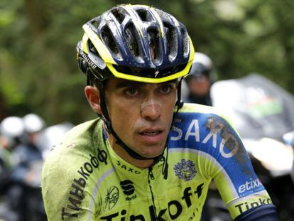 Alberto Contador after his fall in stage 10 of the Tour de France.