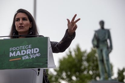Vox candidate for the Madrid regional election, Rocío Monasterio, at a campaign event.