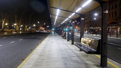 A bus station in Buenos Aires is empty on Tuesday.