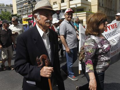 Pensioners in Greece protest against austerity cuts.