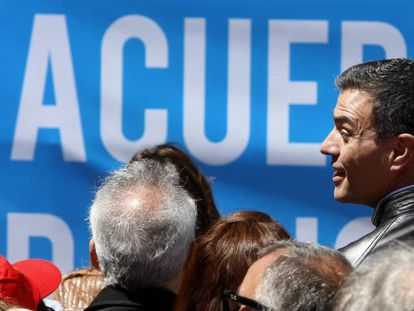 Socialist leader Pedro Sánchez at the May Day march in Madrid.