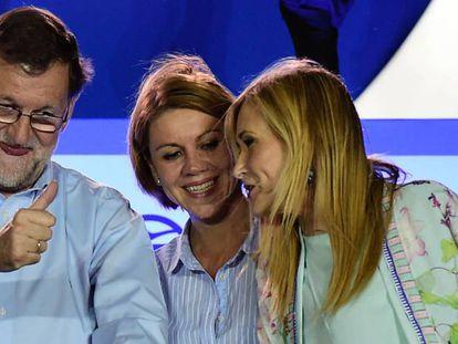 Mariano Rajoy with party secretary Dolores de Cospedal and Madrid premier Cristina Cifuentes.