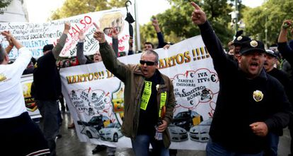 Taxi drivers protest against Uber in Madrid.