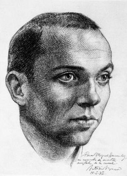 Miguel Hernández, as drawn by Antonio Buero Vallejo in the prison at Ocaña.
