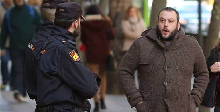 Guillermo Zapata arriving at the Spanish High Court in Madrid.