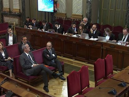 Catalan separatist leaders on trial at the Supreme Court.