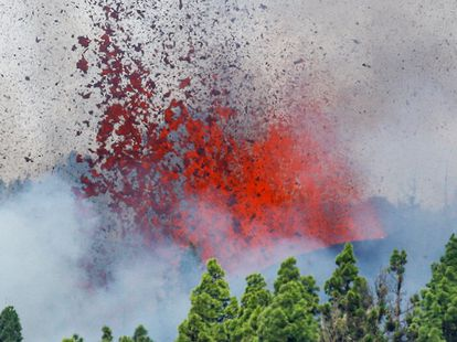 Lava and smoke are spewed into the air following the eruption in La Palma.