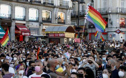 Demonstrators gather in Puerta del Sol in Madrid to protest the murder of Samuel Luiz.