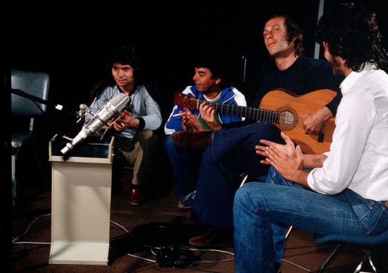 Camarón (l), Paco de Lucía on guitar and Tomatito (far right) during a recording session in 1981.