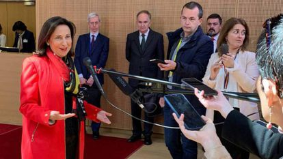 Acting Defense Minister Margarita Robles in Brussels.