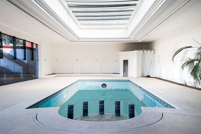 The heated pool in a mansion once owned by Juárez cartel boss Amado Carrillo in El Pedregal, Mexico City.