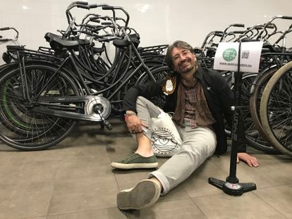 David Saiz with several of his bicycles.