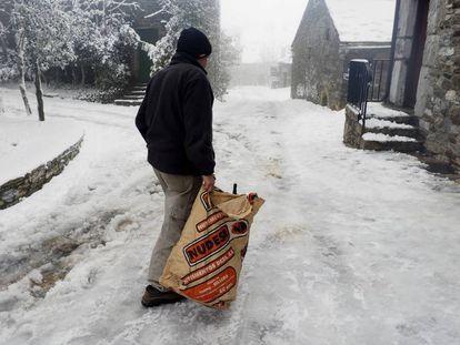 The village of O Cebreiro (Lugo) after snowfall.