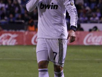 Cristiano Ronaldo calls for quiet during Real Madrid's match against Deportivo on Saturday.