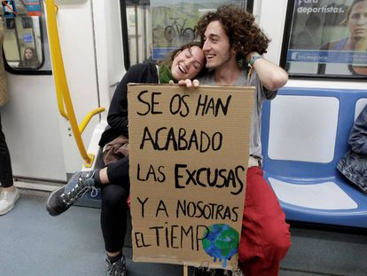 Students on their way to Friday's protest in Madrid.