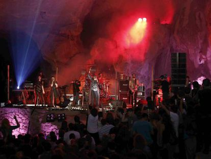 British band Crystal Fighters, during their concert in the Zugarramurdi caves.