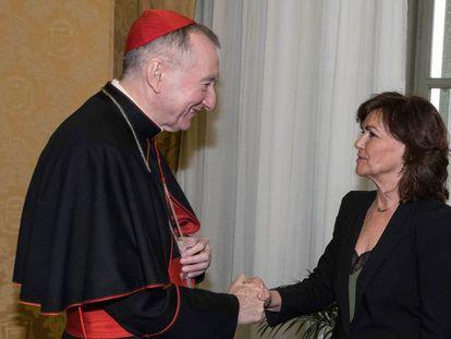 Pietro Parolin and Carmen Calvo on Monday.